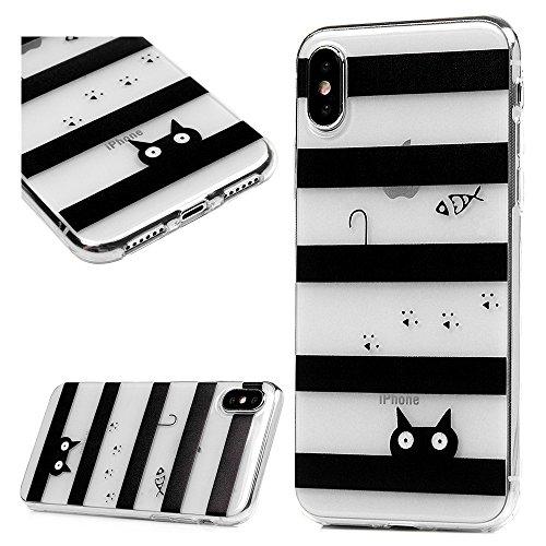 iPhone X Cover, Custodia Morbida Silicone TPU Flessibile Gomma - MAXFE.CO Case Ultra Sottile Cassa Protettiva per iPhone X - Nero Acchiappasogni Pesce