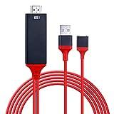 Câble Lightning vers HDMI,1080P AV Vidéo Connecteur de Câble de Conversion pour iOS Android iPhone Samsung iPad Miroir sur HDTV pour Vidéoprojecteur Plug et Play(3.3ft,Rouge)