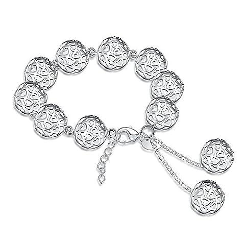 Bodya Femme Plaqué argent en filigrane Roller boules Charm réglable Pull Chaîne Bracelet de cheville