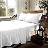 Gaveno Cavailia 200 Thread Count 100% Egyptian Cotton Luxurious Super Soft Cosy Fitted Sheets/Flat Sheets/Pillowcases/Oxford Pillowcases All Sizes (White, Super King Flat Sheet)