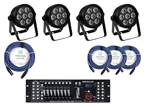 Eurolite LED 7C-7 Silent Slim Spot Controller Set - vier lautlose 7in1-PAR-Scheinwerfer im platzsparenden Design mit Konvektionskühlung im Set inkl. DMX Controller Master, Fernbedienung & DMX-Kabel - Pol-typ Standard Pol