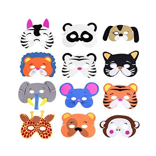 Toyvian 24 stück tiergesichtsmaske nette kreative lustige eva dress up maske für kinder kinder geburtstag party kostüm