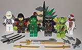 Lego Ninjago Figuren 6 unterschiedliche Ninjas und Schurken und Dschungelfalle z.B Grüner Ninja Lloyd NYA Snappa und bmg2000 Aufkleber