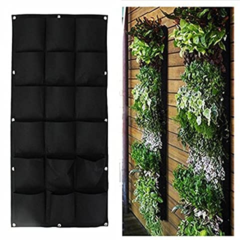 YINO Vertical Wall Garden Planter,Wall Hanging Planting Bags,Wall Mount Planter Solution (18 Bags, Black)