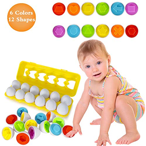 Angusiasm Preschool Learning Toys Age 1 2 3 4+, Matching Eggs with Yellow Eggs Holder Educational Game Gift Toy for 1 years old and up Toddler Girls Boys