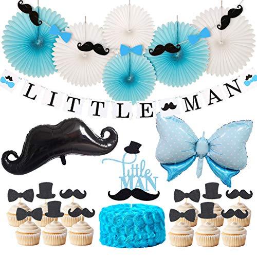 JOYMEMO Little Man Baby Shower Dekorationen Little Man Banner Girlande Cake Topper Schnurrbart Fliege Mylar Ballon für Jungen Birthday Party Dekorationen