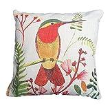 SODIAL Exotische Natur Eisvogel Vogel Creme Flachs Look Kissenbezug mit gruenen Farn & Rote Pflanze