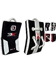 3x Deporte Muay Thai Kick Boxing Brazo Pad Focus Punch Shield curvos UFC MMA blanco/negro blanco/negro