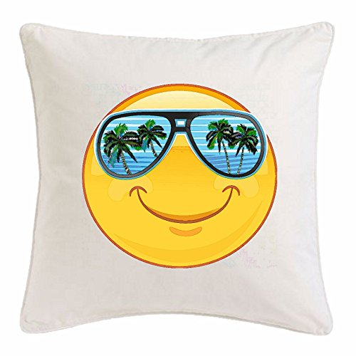 Reifen-Markt Kissenbezug 40x40cm Smiley IM Urlaub AUF Mallorca MIT Sonnenbrille Smileys Smilies Android iPhone Emoticons IOS GRINSE Gesicht Emoticon APP aus Mikrofaser in Weiß