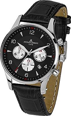 Jacques Lemans 1-1654A - Reloj de pulsera hombre, piel, color negro de Jacques Lemans