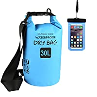Anteel Waterproof Dry Bag, Roll Top Survival Sack Kit Dry Gear Bag, Perfect for Snowboarding, Kayaking, Boating, Canoeing, Fishing, Rafting, Swimming, Camping (Blue, 30L)