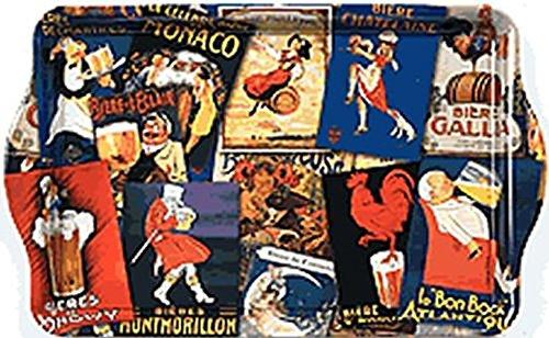 FRANCIA VINTAGE BANDEJA METAL 20x33cm colección retro pub patchwork c
