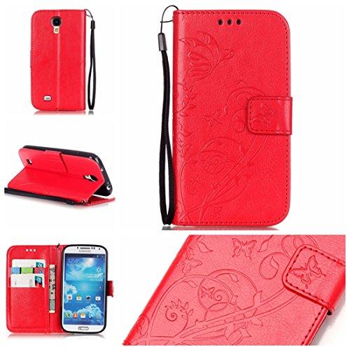 Chreey Coque Samsung Galaxy S4 Mini / i9190 i9195 (4.3 pouces) (Solid color - papillon - impression),PU Cuir Portefeuille Etui Housse Case Cover ,carte de crédit Fentes pour ,idéal pour protéger votre téléphone