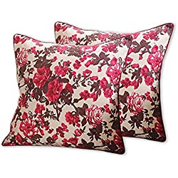 "Set of 2 Floral Print 18"" x 18"" Cushion Pillow Covers - Perfect for Beds & Sofas - 100% 200 Thread Count Cotton Fabric - Red & Brown Garden"