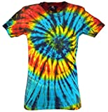 Guru-Shop Batik T-Shirt, Tie Dye Goa Shirt, Damen, Blau/schwarz, Baumwolle, Size:S (36), Tops, T-Shirts, Shirts Alternative Bekleidung