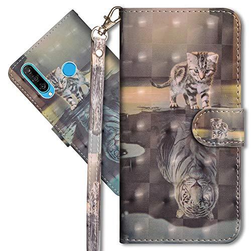 MRSTER Huawei P30 Lite Handytasche, Leder Schutzhülle Brieftasche Hülle Flip Case 3D Muster Cover mit Kartenfach Magnet Tasche Handyhüllen für Huawei P30 Lite. YX 3D - Cat Tiger