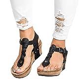 Minetom Mujer Sandalias Y Chancletas De Tacón Alto Plataforma Playa Zapatos De Verano Moda Casual Elegante Romanas Gladiadoras Casual Retro Negro EU 39