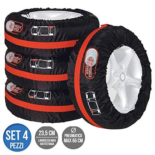 BAKAJI Set 4pz Borsa Custodia Protezione Pneumatici Auto Cover Storage per Gomme Ruote Diametro Max 65cm Larghezza Max 23,5cm in Tessuto Poliestere con Manico