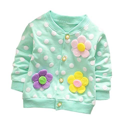 Honestyi Kinderbekleidung, Kleinkind Mädchen Kid Solide Drei Blume Dot Dünne Mantel Oberbekleidung Strickjacke Kleidung Gemütlich Weich KapuzenMantel Einfarbig Mantel (12M/80CM, Blau)