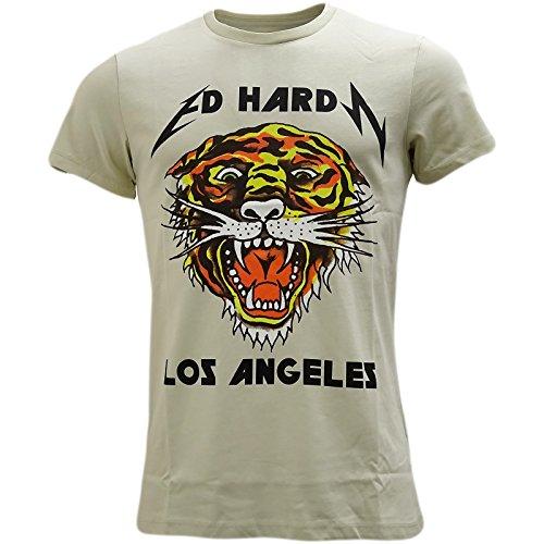 Ed Hardy Herren T-Shirt, Einfarbig Grau Grau Gr. M, - T-shirt Ed Hardy