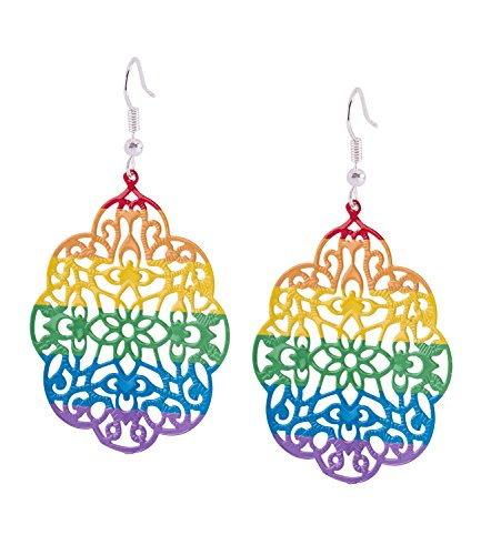 Eisen Kostüm Mädchen Mann - SIX Ohrringe: Pride - Ohrschmuck, Hängeohrringe mit Ornament-Scheiben in Regenbogenfarben für Kostüme an Karneval und Fasching (761-797)