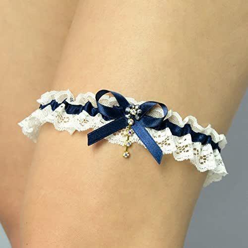 Giarrettiera di cotone nozze matrimonio sposa biancheria intima regali de nozze avorio blu
