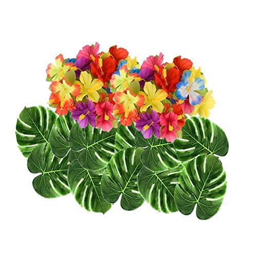 Ruier-hui Hawaiische Luau Party Deko,Hawaii Beach Party Dekoration für Hochzeit Geburtstag BBQ Sommerfest Tropical Party,98er