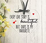every love story is beautiful but ours is my favourite hanging heart plaque for valentines day