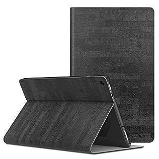 MoKo Hülle für Das Neue Amazon Fire HD 10 Tablet (9. Gen 2019 & 7. Gen 2017 Model), Stoßfest Ledertasche Schutzhülle mit Standfunktion und PC Bumper für Fire HD 10,1
