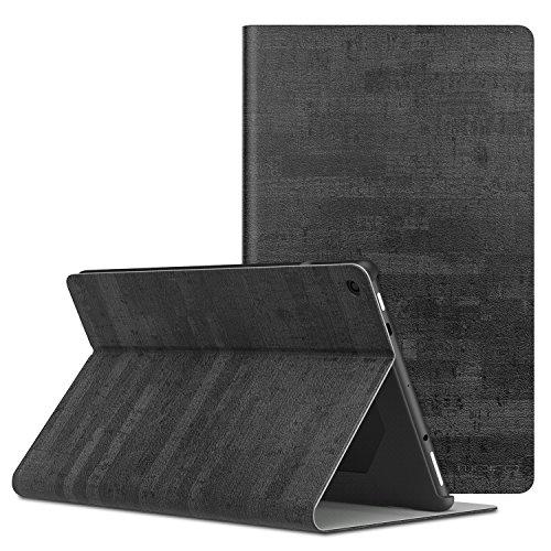 MoKo Hülle für Das neue Fire HD 10 Tablet (7th Gen.- 2017 Modell) - Stoßfest Ledertasche Schutzhülle mit Standfunktion und PC Bumper für All-New Amazon Fire HD 10,1 Zoll Tablette, Schiefer Schwarz (Tasche Alexa)