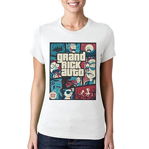 Grand Auto Rick Gta Funny Poster Damen T-Shirt Weiß