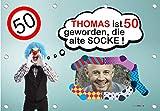 140x96 cm XL Geburtstagsbanner für Männer zum runden oder halbrunden Geburtstag mit Foto, Name und Alter personalisierbar - Geburtstags-Banner - alte Socke GEB18M