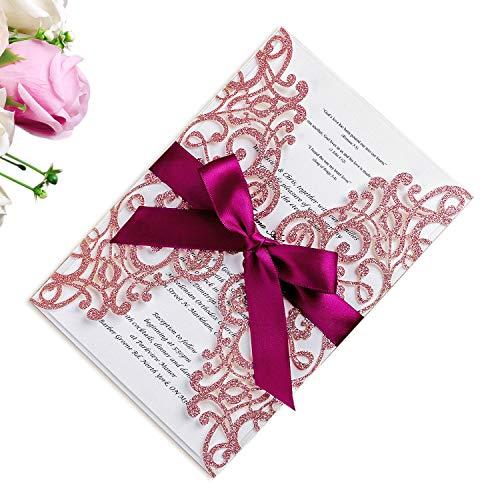 PONATIA Lederpolster Laser Schnitt Hohl Rose mit Bohrer Einladung Hochzeit Brautschmuck Dusche Verlobung Geburtstag Graduation Einladung Karten Rose Gold Glitter + Burgundy Ribbon