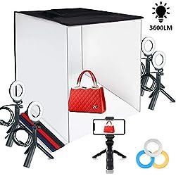 FOSITAN Studio Photo 60x60x60cm Boîte de Lumière Tente Portable Pliable avec 5 trépieds, 4 Anneaux Lumineux à LED, Fonds de Quatre Couleurs et Un Support pour Smartphone