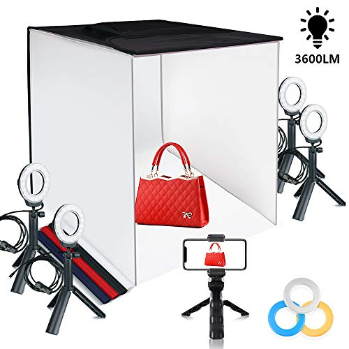 FOSITAN Fotostudio Lichtzelt 60x60x60cm Faltbare Tischplatte Beleuchtung Fotozelt mit 4X 7W- LED Ringleuchten, 5 Stative, 4 Hintergründe, 3 Farbfilter und...