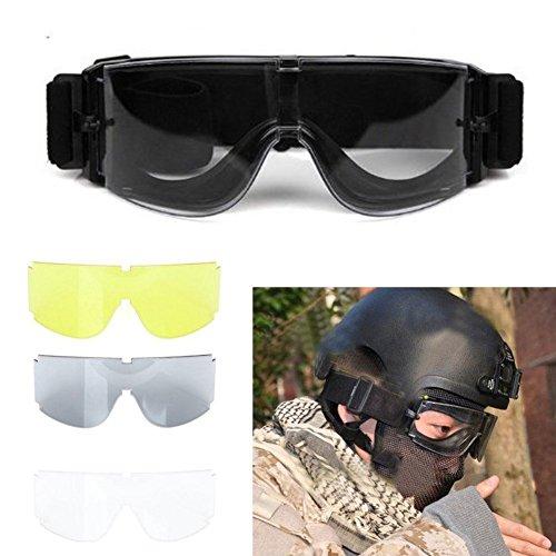 Yosoo X800 Goggle Gx1000 Taktische Schutzbrille mit 3 Gläsern, ideal für Paintball, Airsoft, Outdoor-Sport, Skifahen, Surfen
