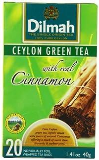 Dilmah Tea, Ceylon Green Tea with Cinnamon, 20-Count Foil Wrapped Tea Bags (Pack of 6)