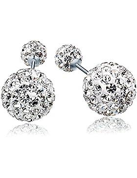 Blingery Damen 925 Silber Fashion Elements Zirkonia Diamant 4mm/10mm Doppelt Kugel Tropfen Ohrstecker Ohrringe