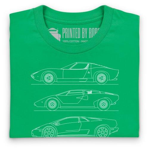 Bull V12 Car Generations T-shirt, Uomo Verde smeraldo
