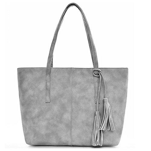 Tibes Damen PU lederne Handtaschen Tasche Grau
