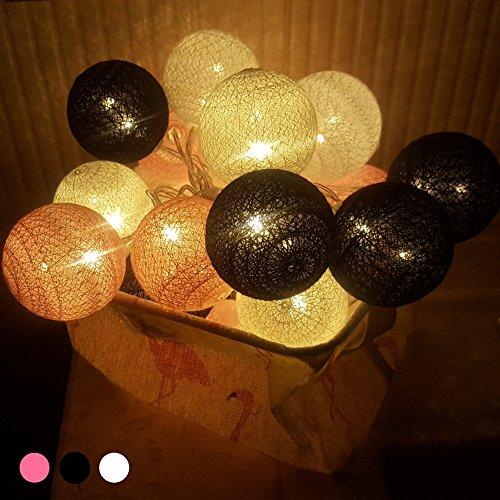 tte mit Kugeln, 6CM Baumwollkugeln Mit 10/20/30 Bällen Batteriebetrieben Licht Festlich Hochzeiten Geburtstag Party Cotton Ball Weihnachten Dekorative (4.8m / 30 Lichter, Schwarz) ()