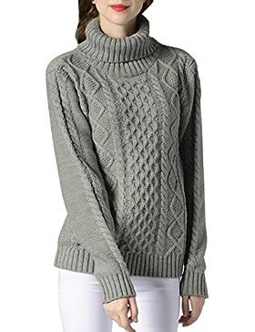 ELLAZHU Moda Mujer Turndown Clooar mangas largas costillas Top Sweater YY54 Gris L