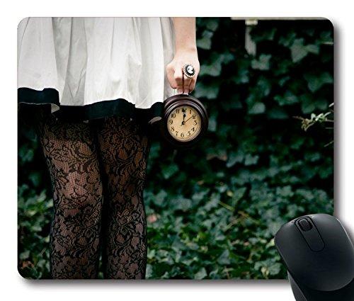 Preisvergleich Produktbild hohp Vintage Mauspad mit Keine Zeit zu sagen Hello Goodbye Alice im Wunderland weiß Kaninchen Tapete Neopren Gummi Standard Größe 22,9cm (220mm) X 17,8cm (180mm) X 1/8(3mm)