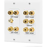 Fosmon [2-Gang 5.1 Surround Distribution] Home Theater Wall Plate - Premium Quality Gold Plated Copper Banana Binding Post Coupler Type Wall Plate for 5 Speakers and 1 RCA Jack for Subwoofer (White)