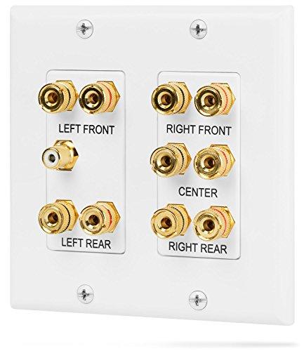 Fosmon [2-Gang 5.1 Surround Sound] Heimkino-Wandplatten Vergoldet Kupfer-Banane Bindung Pfosten Coupler Typ Wandplatte für 5 Lautsprecher und 1 RCA Buchse für Subwoofer (Weiß)
