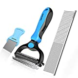 Iokheira Pet Grooming Dematting Comb Tool Grooming Rake and Dematting Comb Double-Side Teeth+Flea Comb for Dogs, Cats, Horses and Rabbits with Medium or Long Hair