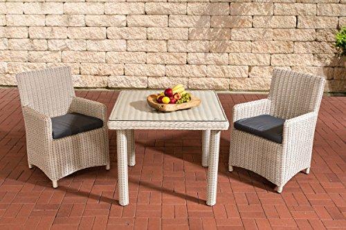 Gartenmöbel, Gartenmöbel-Set, Sitzgruppe Dorado K100, perl-weiß / eisen-grau, Polyrattan-Aluminium-Gestell, Gartengarnitur, Sitzgarnitur.