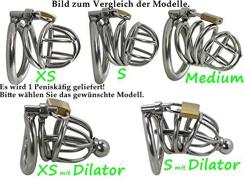 "Edelstahl Peniskäfig ""Anatom"" Keuschheitsgürtel für Männer (Größe XS, Inkl. aller 3 Cockringe)"