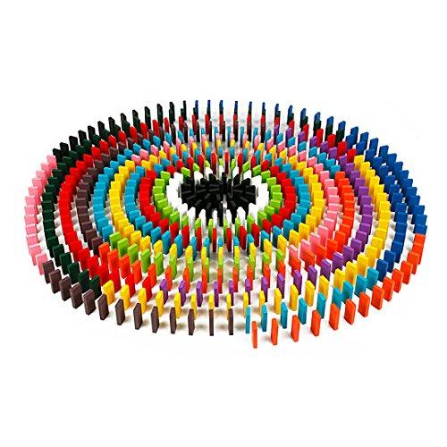 Lot de 120 coloré Naturel Standard unité Kits de blocs de construction de dominos en bois Jouets éducatifs, 12 Couleur