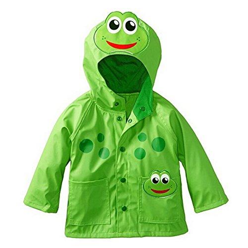 Mädchen Junge Regenmantel Kinder Süß Frosch Regenjacke mit Kapuze Wasserdicht Jacke Regenmantel (M: 90-100cm (Herstellergröße 100), Grün)